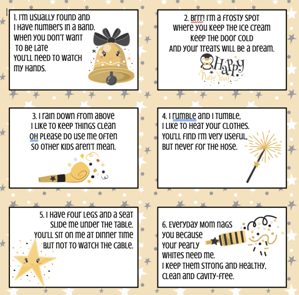 New Years Eve scavenger hunt for kids - This fun free rhyming printable scavenger hunt will keep your children busy hunting clues all over the house!