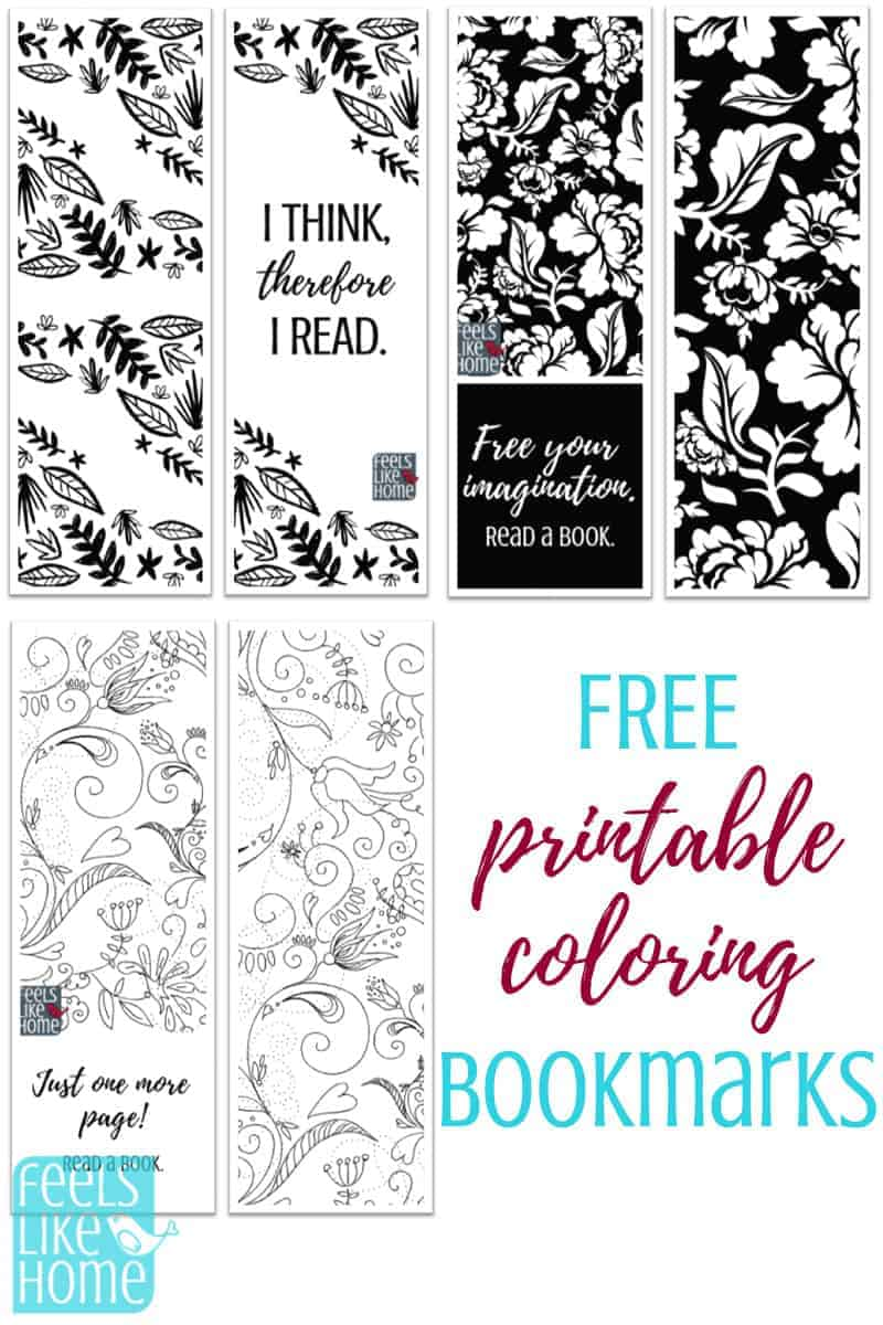 Free printable black and white bookmarks for adults and kids to color these cute drawings