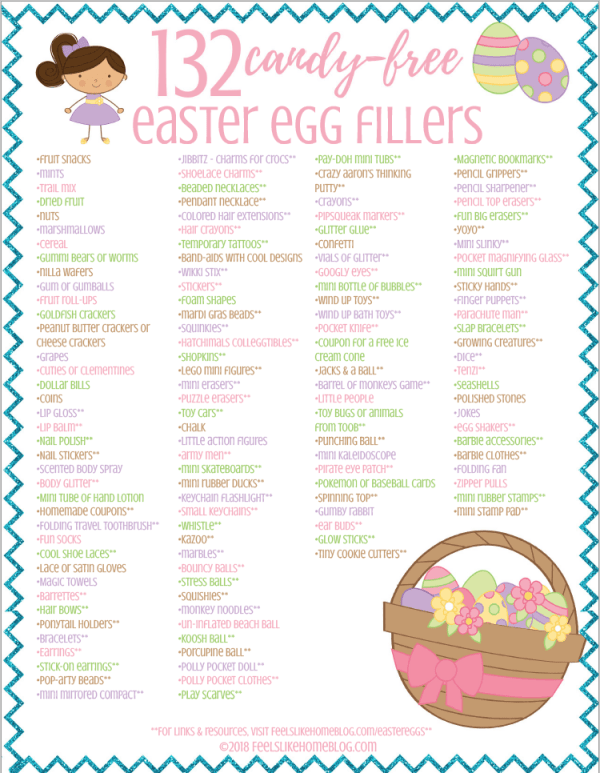 A printable of things to put in Easter eggs