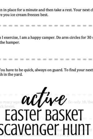 Free printable active Easter basket scavenger hunt for Easter morning - A treasure hunt is a great way to find your Easter basket. This hunt for kids uses rhymes and riddles as clues. Awesome active fun in riddles. Great for families at home. Non-religious. Easy clues using both indoor and outdoor spots.