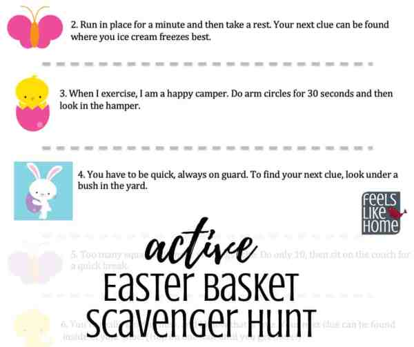 a preview of an easter basket scavenger hunt