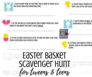 Free printable active Easter basket scavenger hunt for Easter morning - A treasure hunt is a great way to find your Easter basket. This hunt for tweens and teens uses rhymes and riddles as clues. Awesome challenging fun in riddles. Great for families at home. Non-religious. More difficult clues than my other hunts using both indoor and outdoor spots.