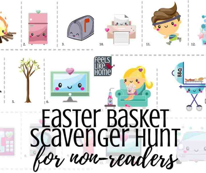 printable active Easter basket scavenger hunt for Easter morning - A treasure hunt is a great way to find your Easter basket. This hunt for little kids and non-readers uses pictures only as clues. Awesome active fun for toddlers, preschoolers, and kindergarteners. Great for families at home. Non-religious. Easy clues using both indoor and outdoor spots.