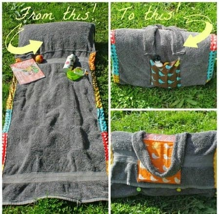 A handmade pillow and beach blanket