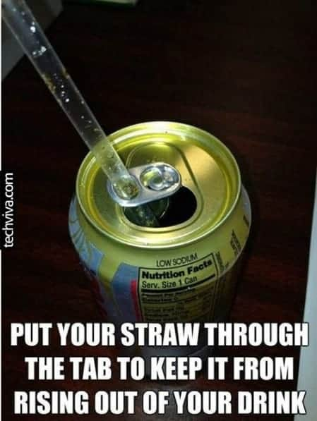 A straw in a can of soda pop