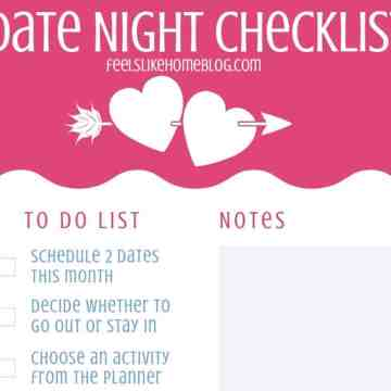 A close up of a printable date night checklist