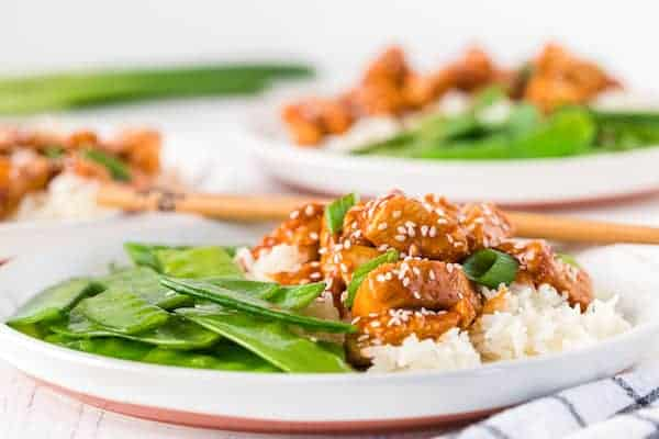 plated General Tso chicken