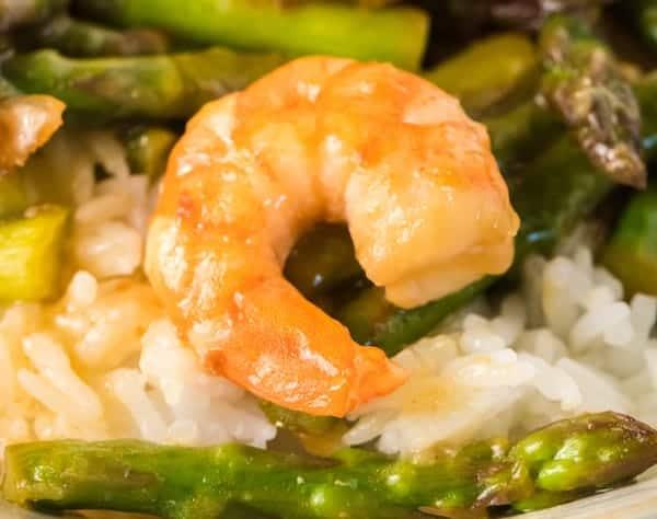 shrimp and asparagus stir fry over rice