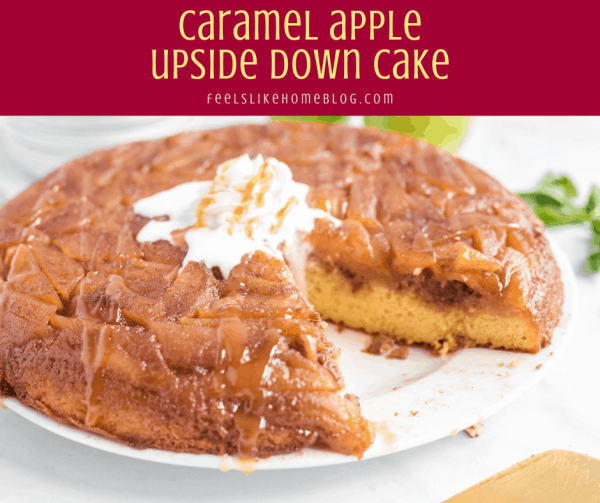 caramel apple upside down cake on a plate with whipped cream
