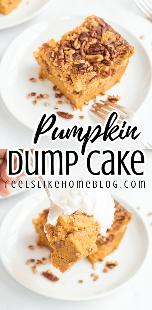 a collage of two pieces of pumpkin dump cake on a plate
