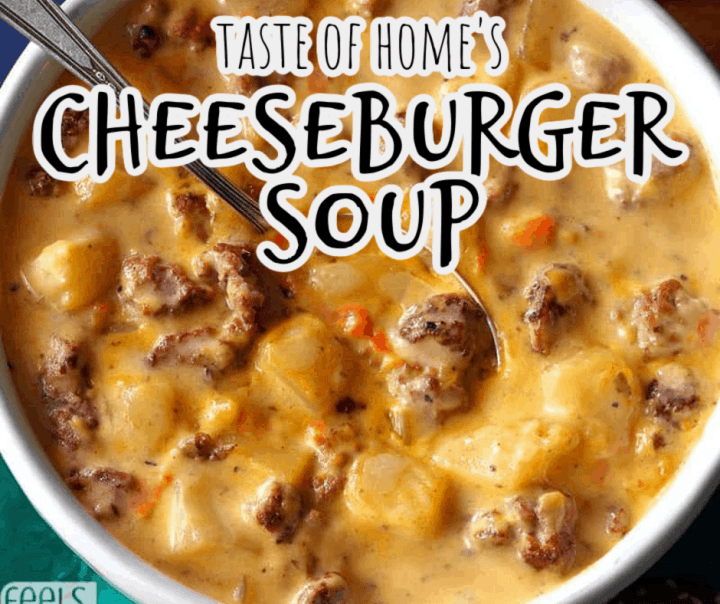 cheeseburger soup in a blue bowl