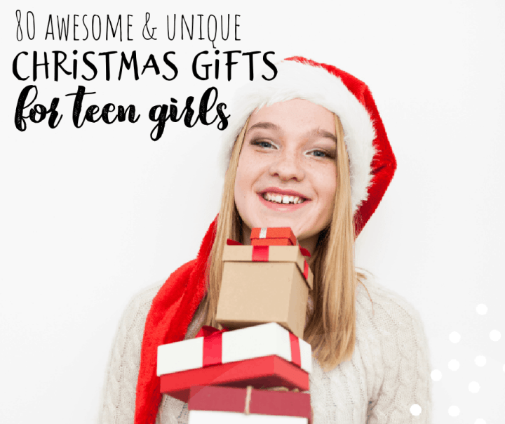 teen girl with a stack of gifts