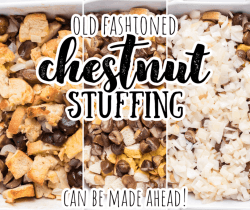 collage of stages of chestnut stuffing