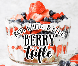 red white and blue trifle with pound cake