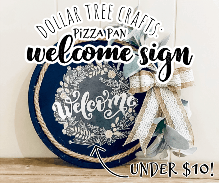 finished welcome sign wreath hanging on a white wall