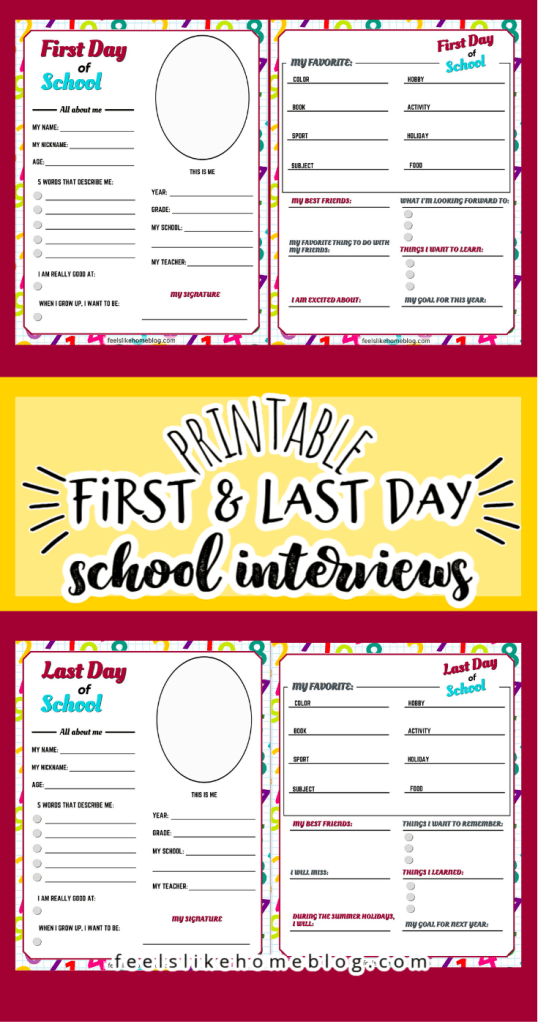 collage of first and last day of school interview printables