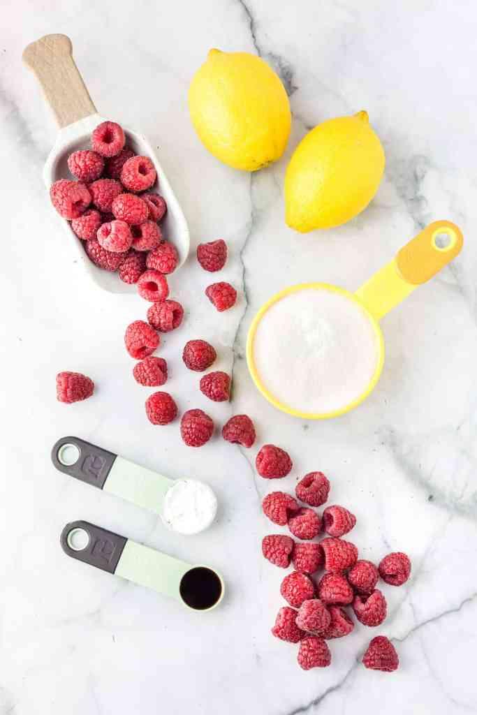 ingredients including fresh raspberries, sugar, lemons, cornstarch, and vanilla