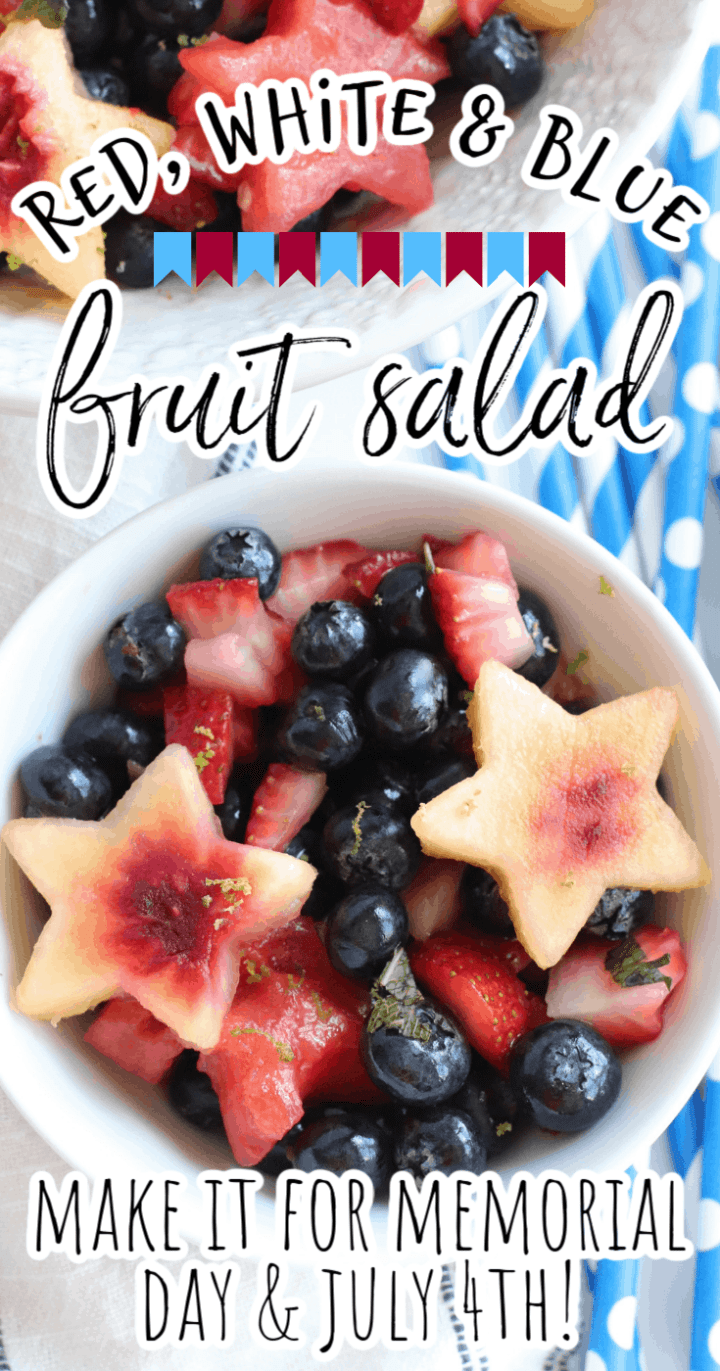 Red, White, & Blue Fruit Salad for Memorial Day & July 4th