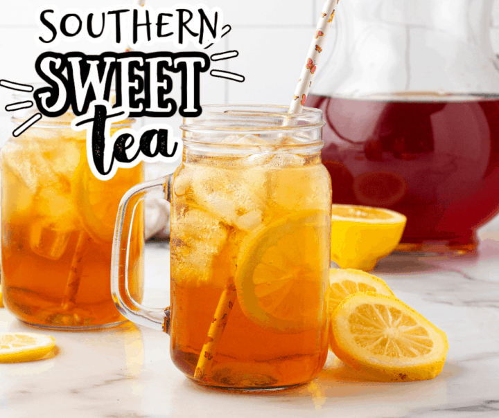 two glasses of sweet tea with a pitcher