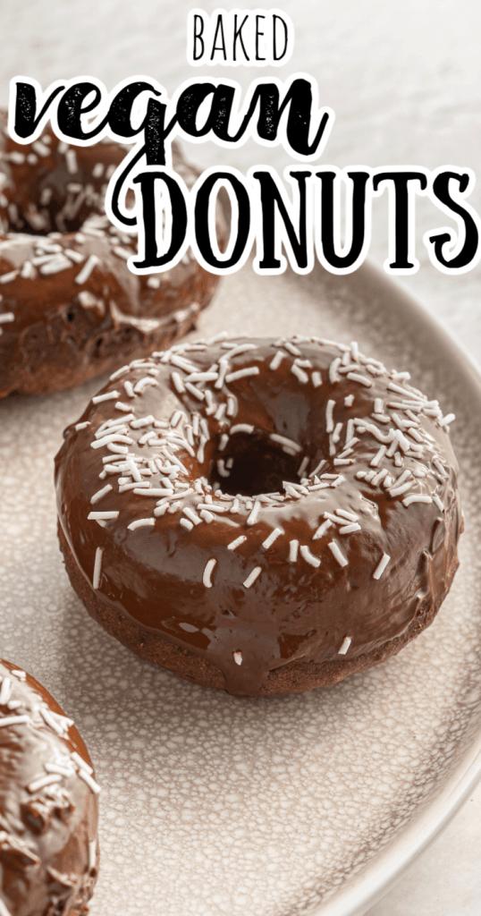 a vegan chocolate donut with sprinkles