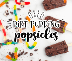 Oreo pudding popscles with gummy worms and Oreo cookie crumbs