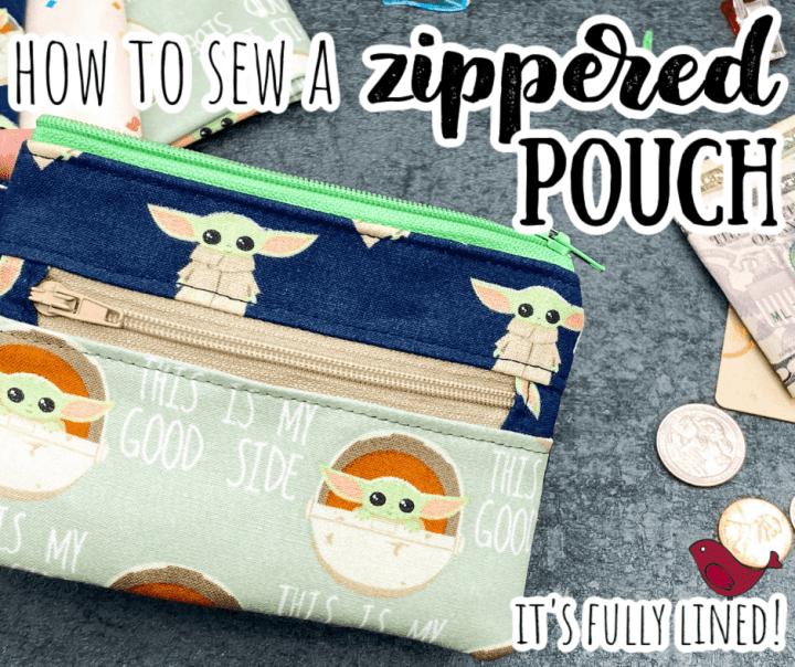 handmade Baby Yoda zippered pouch or coin purse