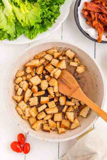 fry the croutons in a skillet