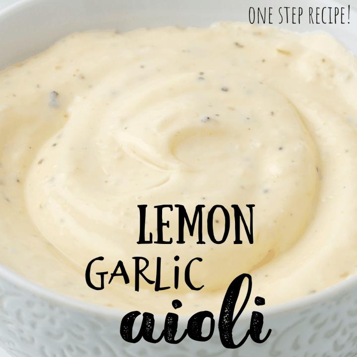 lemon garlic aioli in a white bowl