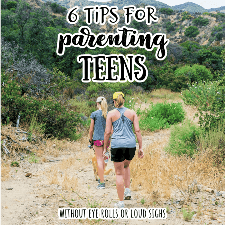 a mom hiking with her teen