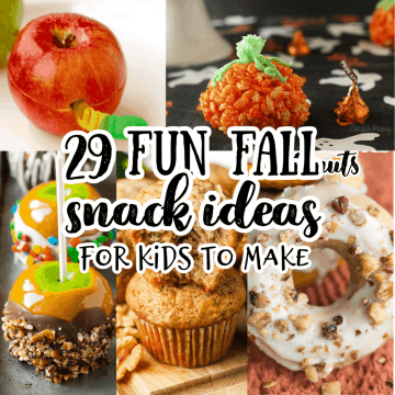 a collage of fun fall snack ideas including a wormy apple and a Rice Krispie pumpkin