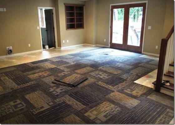 Installing Carpet Tiles Basement  Feel The Home