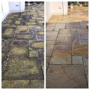 Before and after pressure cleaning on a beautiful York stone patio in Richmond Surrey