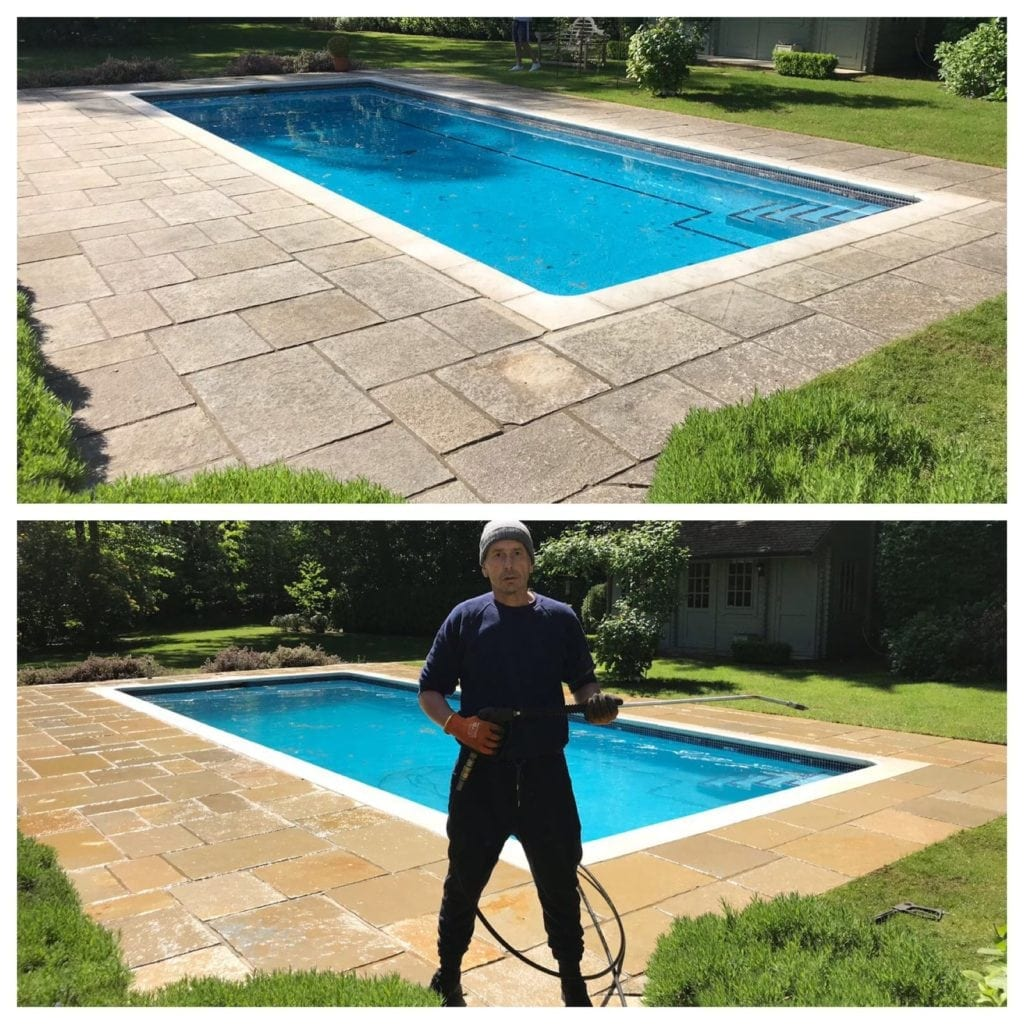 swimming pool patio cleaned in Richmond Surrey