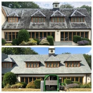 slate roof cleaned with doff therma-tech super heated pressure cleaner