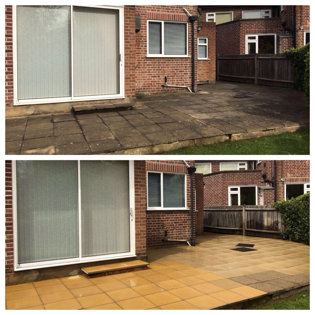 before and after yellow concrete slab patio pressure cleaning