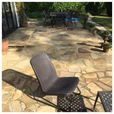 crazy paving patio restored by team Feel the pressure UK
