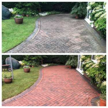 red block paving patio cleaning service
