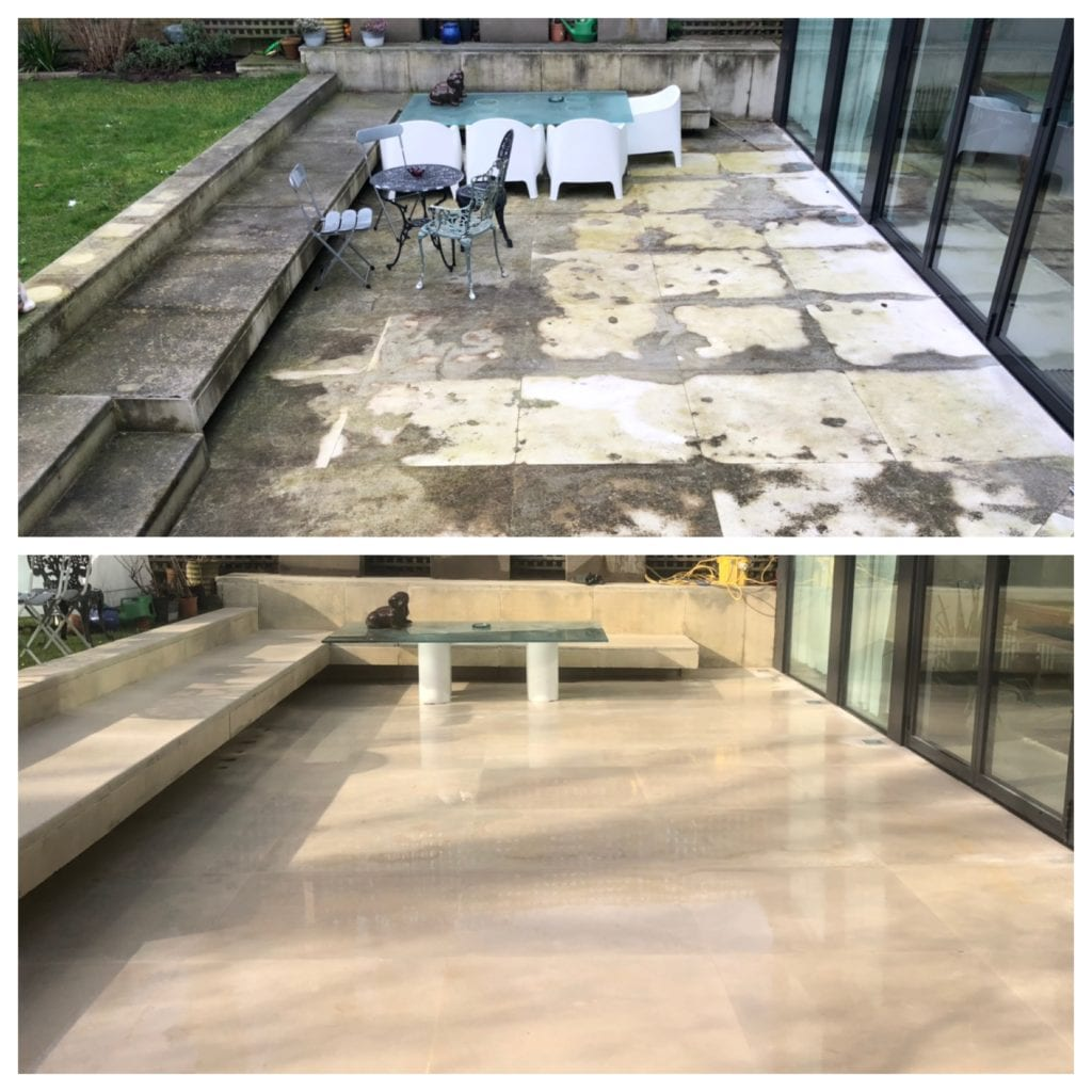 NATURAL PORTLAND STONE PATIO CLEANING BEFORE & AFTER COBHAM, SURREY