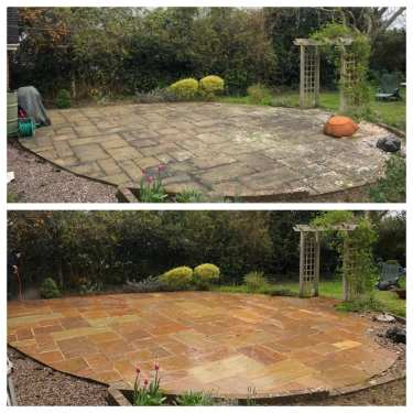Feel the pressure UK, Indian sandstone black spot removal service on Indian sandstone