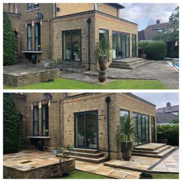 indian sandstone patio cleaning service. professional patio cleaning services