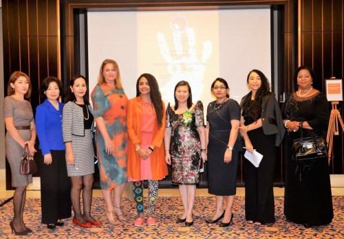 From left to right: Nurilya Sharshenbek (Kyrgyz Republic), Kyeong Park (South Korea), Kulpan Salimova (Kazakhstan), Britt Spyrou (Australia), Mandisa Baptiste (UNDP), Yoko Ramos (Philippines), Mala Prakasha (Fiji), Carmen Macelaru (Romania) and Eugenia Lucio (Mozambique)