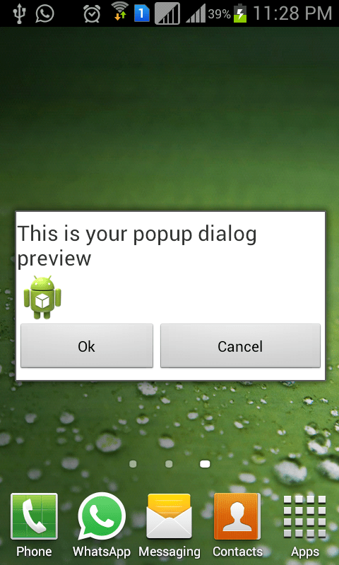 How to display custom dialog on Android home screen