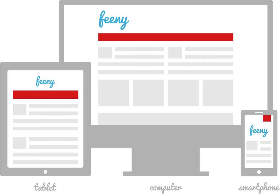 Een schoolwebsite van Feeny maakt gebruik van responsive design