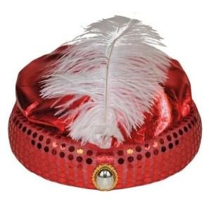 Rood Arabisch Sultan verkleed hoedje met diamant en veer