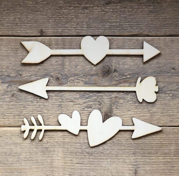 houten hart pijlen