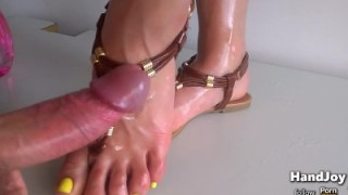 Feet Painted In Yellow Let Me Cum On Sandals