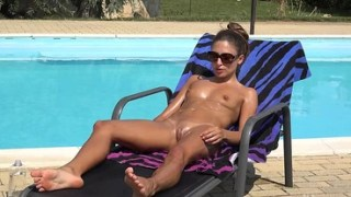 Gina Gerson Completely Naked And Barefoot Tanning Outside