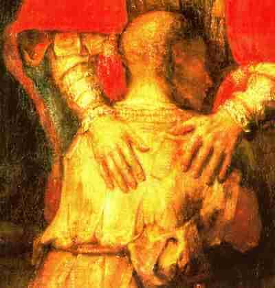 Rembrand - Der Verlorene Sohn - Detailsaufnahme Hände
