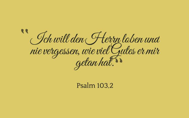 Ich will den Herrn loben und nie vergessen, wie viel Gutes er mir getan hat. - Psalm 103,2