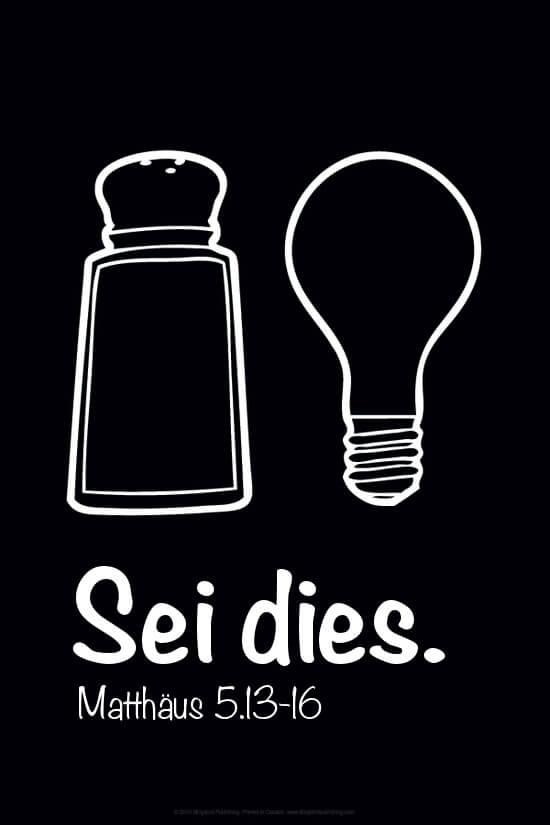 Ein Salzstreuer und eine Glühbirne über dem Text: Sei dies. Matthäus 5, 13-16